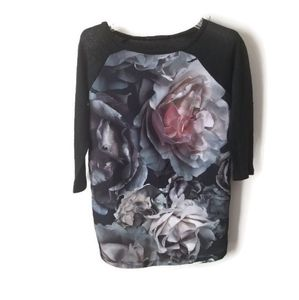 Zara W&B Collection sweater floral top size s
